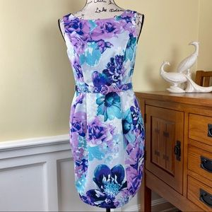 Eliza J Floral Sheath Pleated Dress
